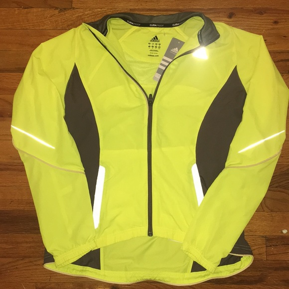 NWT Adidas Neon Yellow Running Jacket Size Medium NWT